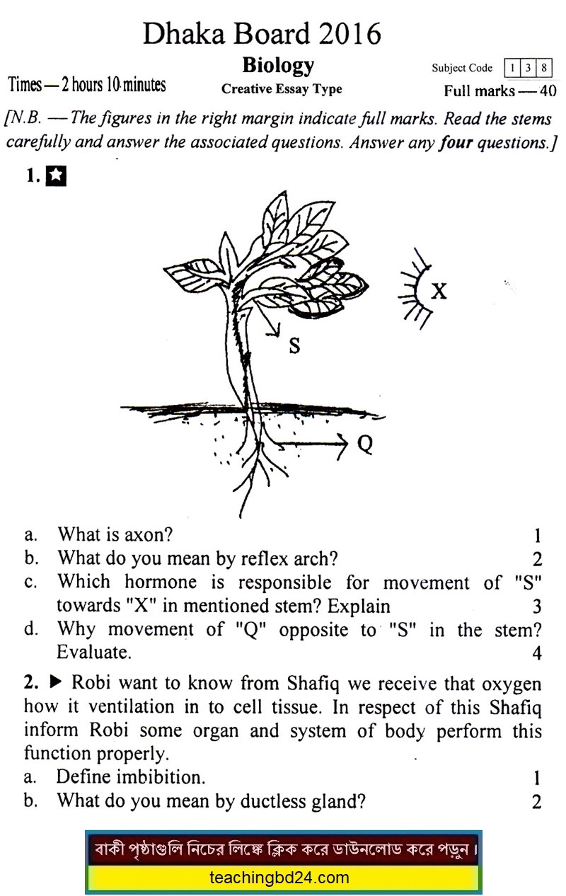 SSC EV Biology Question 2016 Dhaka Board